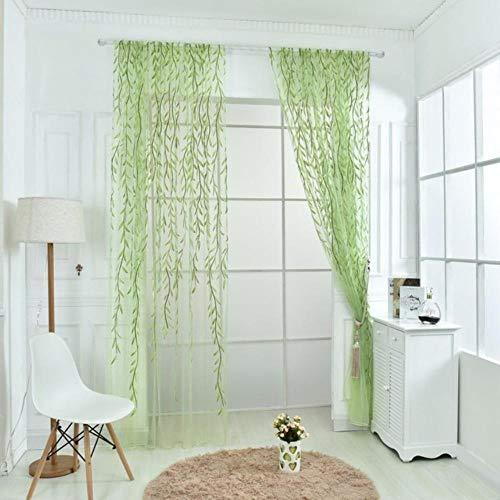 MeiPanMu Cute Willow Shape Offset Curtains for The Living Room cortinas para sala de Estar Curtains for Living Room rideaux firanyv,Green,100X270CM