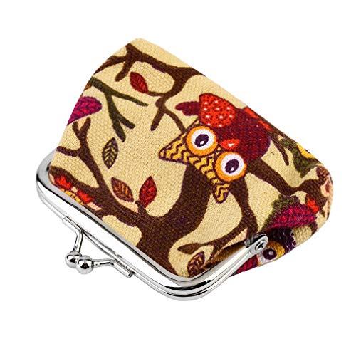 Multicolor búho diseño moneda dinero bolso monedero cartera lona para mujeres chica señora caqui