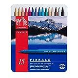 Caran d'Ache - FIBRALO - Assortimento 15 Pennarelli Colorati con Scatola in Metallo 185.315