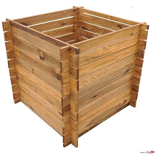 naturholz-shop Stabiler Holzkomposter Komposter Kompostbehälter imprägniert Hochbeet 85 x 85 x75cm