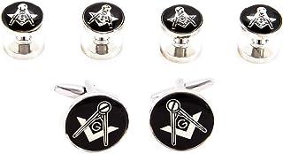 MRCUFF Freemason Masonic Cufflinks and Studs Tuxedo Set in a Presentation Gift Box & Polishing Cloth