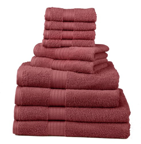 Divatex Home Fashions 10-Piece Deluxe Towel Sets, Tomato