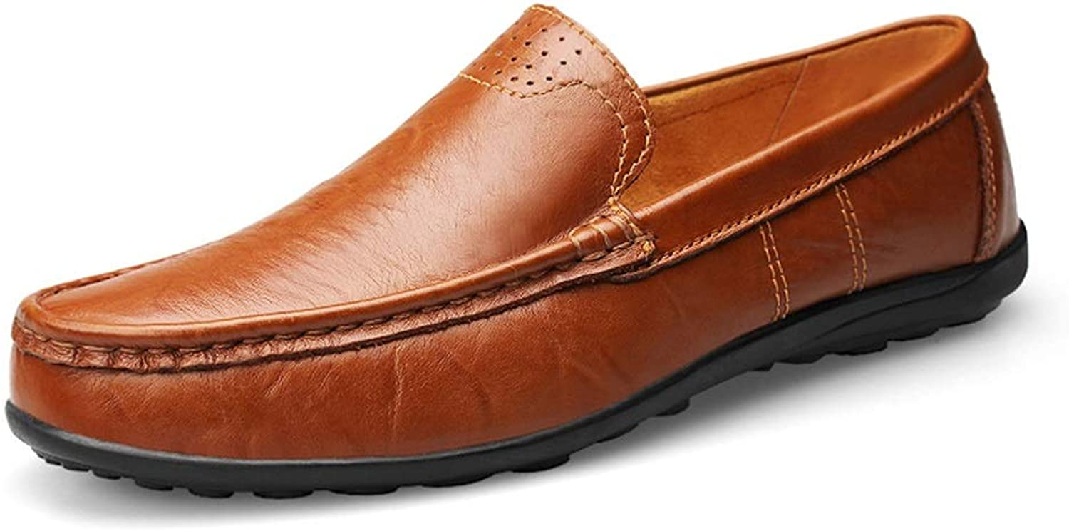 Men's Leather Loafers Wedding shoes Breathable Non-Slip Flat Round Headgear shoes Cricket shoes