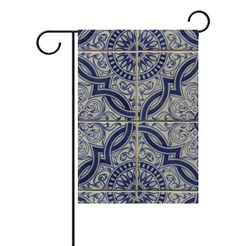 FANTAZIO Drapeau de Jardin Portugal en céramique Motif Floral Double Face, Polyester, 1, 28x40(in)