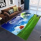 LILONGXI Alfombra, diseño clásico de pastizales verde, suave, antideslizante, alfombra nórdica, moderna, para puerta de baño, alfombra para ventana de bahía, alfombra de bebé, 120 x 160 cm