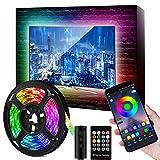 Tira LED TV de 46-60 pulgadas de 9.84FT, con 16 millones de colores, tira de LED RGB, impermeable, con alimentación USB (control por aplicación + botones de control remoto + controlador)