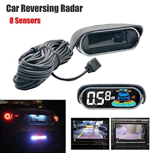 8 Sensores de Estacionamiento, Sistema de Radar de Doble Núcleo, Vista Delantera y Trasera, Sensores de Pantalla LCD, Ayuda de Estacionamiento con Detector de Radar de Marcha Atrás