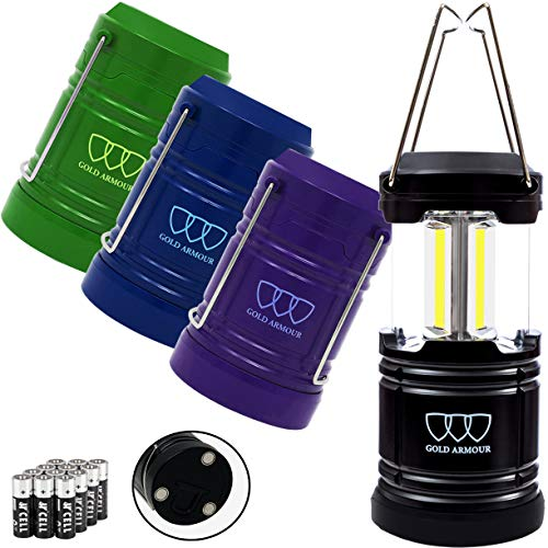Gold Armour 4 Pack Portable Led Camping Lantern Flashlight with Magnetic Base  Emits 500 Lumens  Survival Kit for Emergency Hurricane Power Outage 12 aa Batteries Included Multicolor