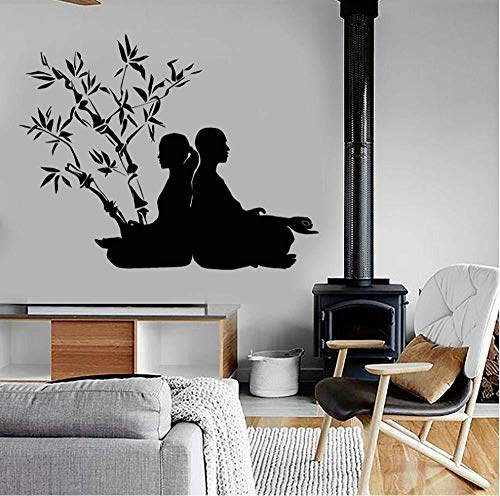 Calcomanía de pared de estudio de yoga, meditación Zen, posturas de yoga, pegatinas de pared de budismo, vinilo extraíble, decoración de Yoga para el hogar, 53X42CM My88FL