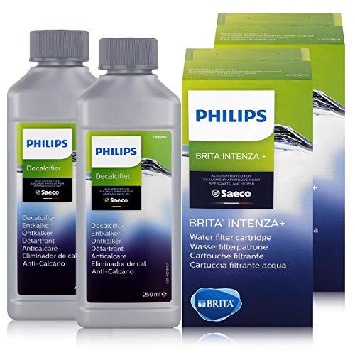 Brita Saeco - Juego de 2 filtros de agua Brita y 2 descalcificadores Saeco