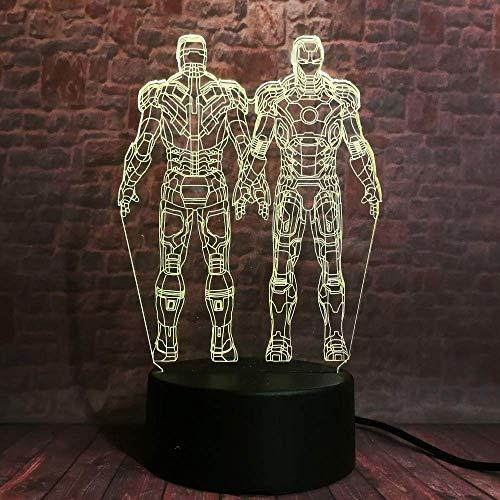 Luz nocturna 3D ilusión LED Lámpara de Escritorio Esquina de superhéroe decoración del hogar y para codormir Con carga USB, control táctil de cambio de color colorido