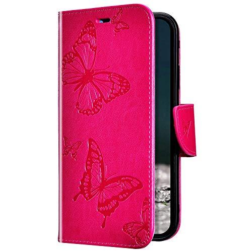 Uposao Kompatibel mit Huawei Honor 7A Hülle Ledertasche Tasche Flip Case Cover Schmetterling Motiv Muster Lederhülle Klapphülle Wallet Cover Magnetisch Handytasche Kartenfächer,Rose Pink
