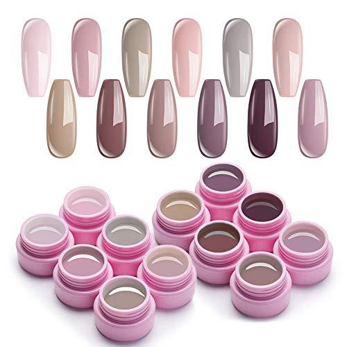 UR SUGAR 7,5ml UV Gel Nagellack Set Nude Farben Serie für Nagelgel Maniküre Nackt Farben Gellack Nagel 12 Boxen Kit
