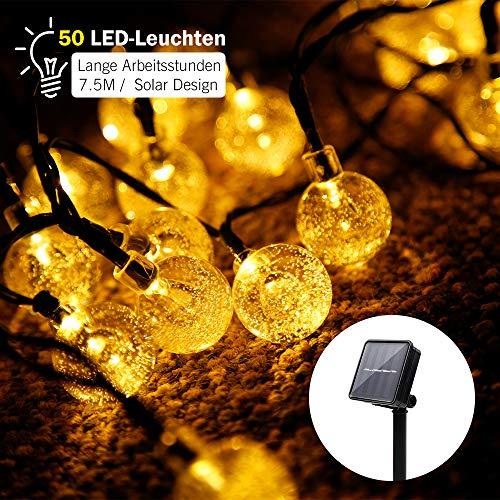 LE 7.5M LED Lichterkette Draht aus Kupferdraht, 50 LEDs, Wasserdicht IP65, Strombetrieben, ideal Stimmungslichter für Weihnachtsdeko Innen Außen Weihnachten Party Hochzeit usw. [Energieklasse A+]