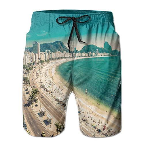 DHNKW Herren Badehose Boardshorts Strandhose Surfing Boardshorts,Copacabana Beach Ipanema Sugar Loaf Mountain In Rio Famous World Beaches,Fancy Print Hawaiian Shorts Four Size,Medium