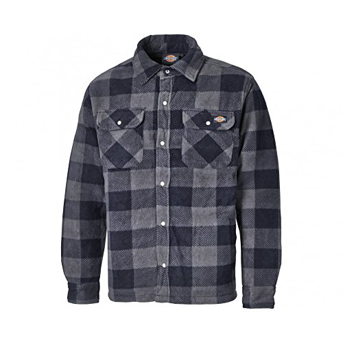 Dickies - Portland Hemd Hohe Qualität Gepolstertes Arbeitshemd Jacke Polar Fleece Design Vorne Druckknopf-Verschluss Brusttasche Bequem Warm SH5000 - Marineblau, Large