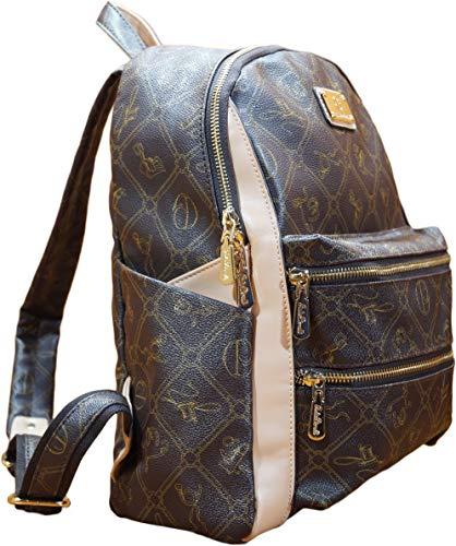 Rucksack Damen Mädchen Reisen Schultasche Lederimitat modern Handgepäck (Braun)