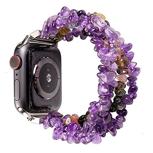 PZZZHF Pulsera de Reloj de Apple for Las Bandas de 42 mm 44 mm Mujeres Natural Hecho a Mano de la Correa de Piedra reemplazo for la Serie de IWatch 5 4 3 2 1 40 mm 38 mm