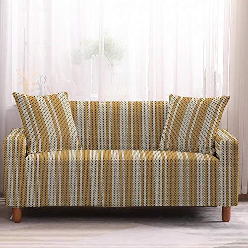 Fundas de Sofá - Funda Cubre Sofá Elasticas de Protector de sofá con Estampado Rayas Amarillas 1 Plazas, Suave Poliéster Universal Funda Cubre Sofas Ajustables