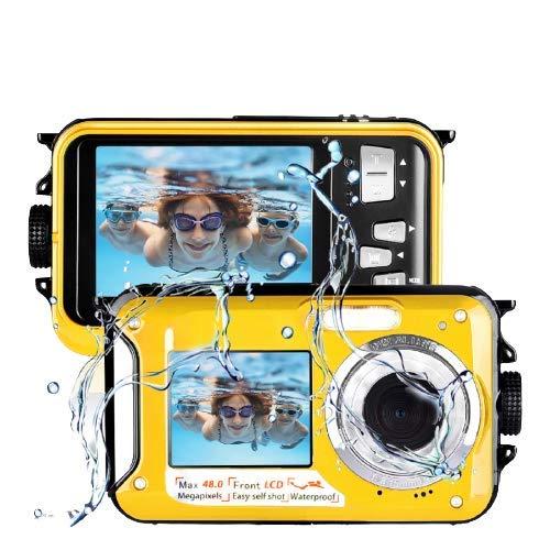 Lincom Camara Acuatica Camara Sumergibles 2.7K Full HD 48.0 MP Camara Acuatica Sumergible Selfie Pantallas Dobles Camara Fotos Acuatica Amarillo