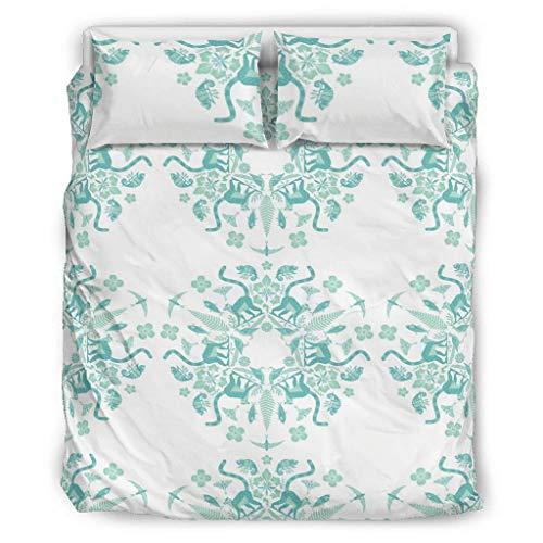 Rcerirt Bettwäscheset luxuriös seidig Deep Pocket Fit Alle Matratzen für Haus Turtle White 264x229cm