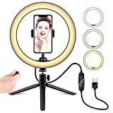 10' Selfie Ring Light with Tripod Stand & Cell Phone Holder, LATZZ Dimmable Desktop LED Lamp Camera Ringlight with Wireless Remote Shutter for Live Stream/Makeup/YouTube Video/Photography