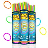 PartySticks Glow Sticks Bulk Party Favors 300pk with Connectors - 8 Inch Glow in The Dark Party Supplies, Neon Party Glow Necklaces and Glow Bracelets