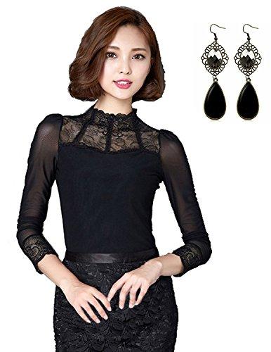 sitengle Mujeres Elegante Camisetas de Encaje Floral Mangas Largas See Through T Shirt Camisas Basic Blusa Tops Negro Large