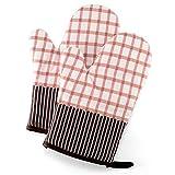 鍋つかみ 耐熱ミトン 断熱オーブンミトン 滑り止め 厚手 キッチン 手保護手袋 耐熱温度220℃ 左右兼用 綿製 2個セット