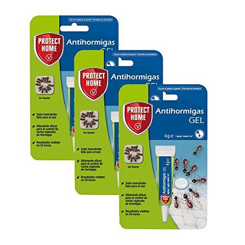 PROTECT HOME Antihormigas Cebo en Gel contra Hormigas para Interiores, rápida acción y Altamente Atractivo, 4g (Pack de 3), Azul