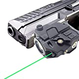 9. Low-Profile Picatinny Rail-Mounted Green Laser Flashlight for Pistols and Rifles,Magnetic USB Rechargeable Gun Laser Sight with Ambidextrous ON/Off Buttons for Pistols,Rifles Shotguns