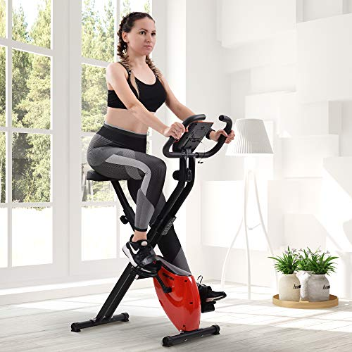 Merax Cyclette magnetica pieghevole con console LCD, 8 livelli di resistenza regolabili, volano da 2,5 kg fino a 120 kg (rosso)