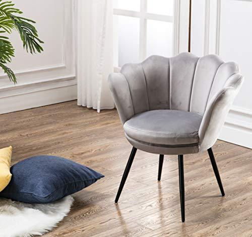 Wahson Sessel für Schlafzimmer Weicher Samt,Armlehnstuhl mit Metallbeinen,Freizeitsessel für Wohnzimmer/Vanity(Grau)