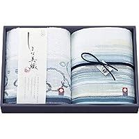 ≪香典返し 法事引き出物 内祝 婚礼引き出物≫ しまな美織 波かすり ウォッシュタオル2P ブルー 【包装・のし無料】