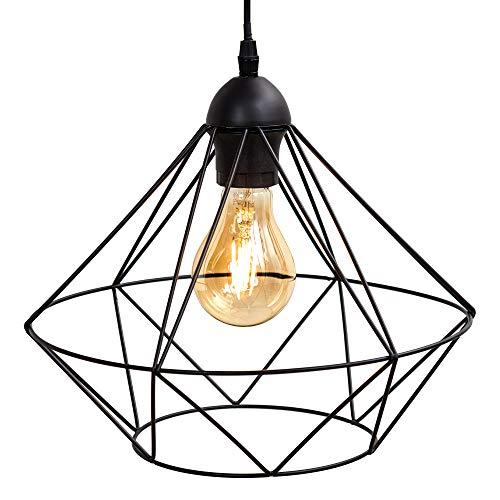 B.K.Licht suspension design rétro, lustre moderne style industriel métal, éclairage plafond vintage, Ø32cm, pour ampoule E27 max. 40W, noir, hauteur 110cm
