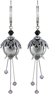 NoMonet Hand Painted Flower Fairy Earrings - Lily of the Vale Earrings - Silver, Black and Lavender