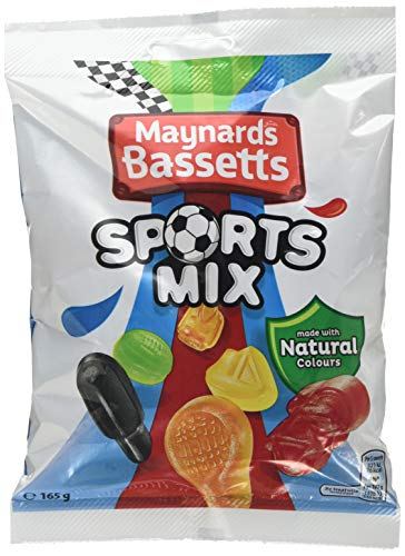 Maynards Bassetts Sports Mixture Sweets Bag, 165 g, Pack of 12