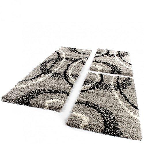 Paco Home Bettumrandung Läufer Shaggy Hochflor Teppich Grau Schwarz Creme Läuferset 3 TLG, Grösse:2mal 70x140 1mal 70x250