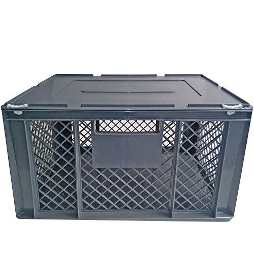 XL Transportbox für Kleintiere/Katzen/Kleine Hunde, Seitenwände vergittert, Boden geschlossen - LxBxH 600x400x320 mm, mit Scharnierdeckel