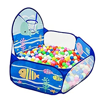 LOJETON Kids Ball Pit Pop Up Children Play Tent Toddler Ball Ocean Pool Baby Crawl Playpen with Basketball Hoop and Zipper Storage Bag - Balls Not Included
