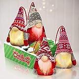 Kmuysl Lighted Tomte Gnomes Christmas Ornaments,Handmade Swedish Santa Gnomes Plush Santa Elf Lights Table Home Decor Ornaments Pack of 4,Christmas Tree Hanging Decoration