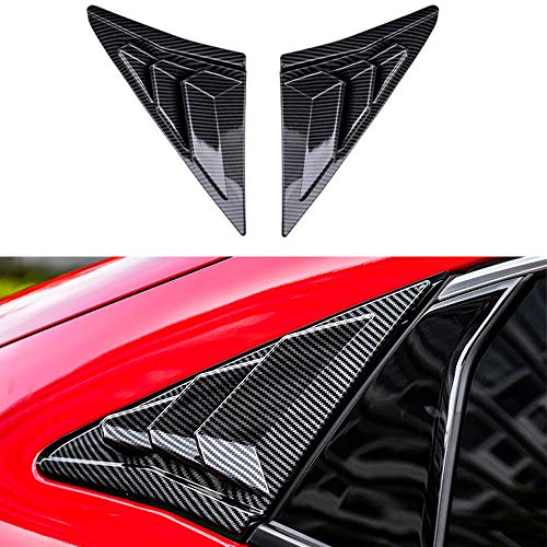 XITER 2PCS ABS Carbon Fibre Racing Style ABS Rear Side Window Louvers Air Vent Scoop Shades Cover Blinds for Honda Civic Hatchback 2021 2020 2019 2018 2017 2016 (Carbon Fiber Black)