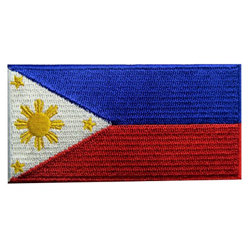 Bandera de Filipinas Filipino Emblema nacional Parche Bordado de Aplicación con Plancha