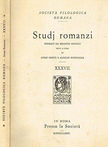 STUDJ ROMANZI vol. XXXVII.