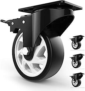 "Homhoo 5"" Swivel Caster Wheels with Safety Dual Locking and Polyurethane Foam No Noise Wheels, Heavy Duty - 350 Lbs Per Ca..."