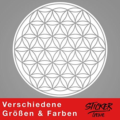 Blume des Lebens - Geometrie - Wandtattoo Wandaufkleber Sticker Aufkleber (40 (B) x 40 (H) cm, Weiss)