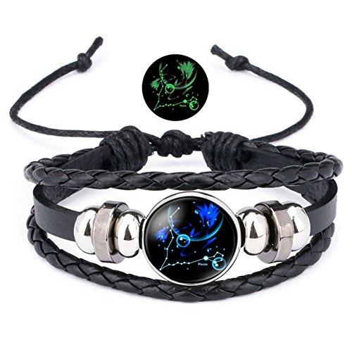 12 Sternzeichen Armband Lederarmband Frauen Herren Nachtleuchtender Anhänger Glas Cabochon Silber Armbänder Kette Verstellbare (Fische)