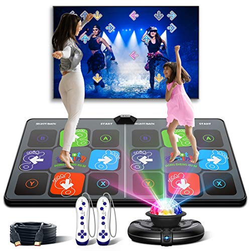 Dance Mat Games for TV - HDMI Wireless Musical Electronic Dance Mats with HD Camera, FWFX Double User Exercise Fitness Non-Slip Dance Step Pad Dancing Mat for Kids & Adults, Gift for Boys & Girls
