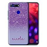 Stuff4 Personnalisé Coque pour Huawei Honor View 20 Effet Paillettes Coutume Violet Désign...