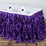 Efavormart 14ft Enchanting Curly Willow Taffeta Table Skirt for Kitchen Dining Catering Wedding Birthday Party Events - Purple
